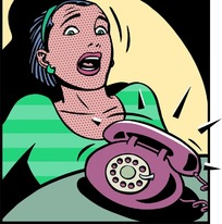 电话响受惊吓的卡通女人