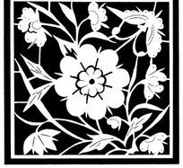 蝴蝶与花卉刻纸图片素材