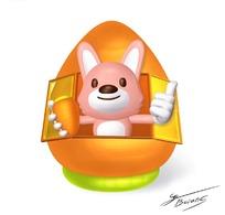 卡通造型住在胡萝卜小屋内的小兔子