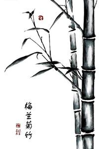 梅兰竹菊之竹子水墨画PSD分层素材