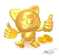 拿着钱币的金色卡通小猪PSD素材