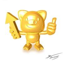 手拿箭头的金色卡通小猪造型素材