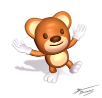 手舞足蹈的卡通小熊造型