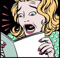在阅读中受惊吓的女人