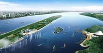 河中心岛滨水码头景观设计效果图