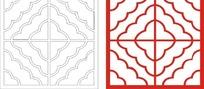 中式窗户图案镂空花纹CDR矢量