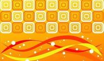 橙黄色背景上的几何图案与动感曲线