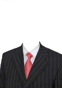 黑色大条纹西装红条纹领带证件照模板