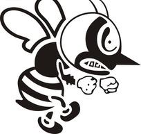 黑色愤怒的蜜蜂图标CDR文件