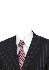 黑色条纹西装白条纹领带证件照模板