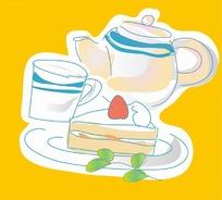 黄色背景下午茶与茶点