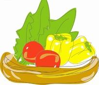 两个黄色大辣椒两个西红柿两棵绿色蔬菜在筐里
