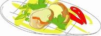 一碟两颗牡蛎两颗辣椒和配菜