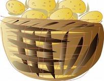 一个大土筐装满土豆