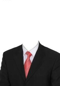男士黑色西装证件照模板PSD素材
