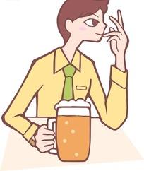 手拿啤酒杯的卡通南男子