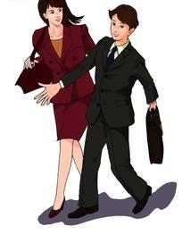 说笑的商务男女插画