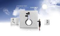 蓝天白云下的钥匙模型与女人PSD素材