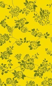黄色背景上的单色图案花