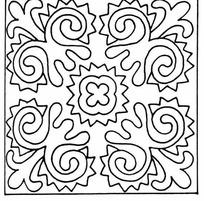 矢量对称的花朵花纹曲线图片