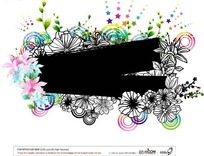 粉色蓝色花卉花朵白描植物装饰图形