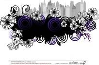 花卉白描城市剪影