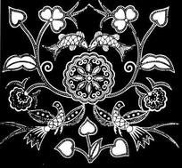 蜡染花鸟鱼黑白纹样