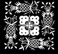 蜡染花纹黑白拓本