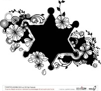 六角形白描花纹图案