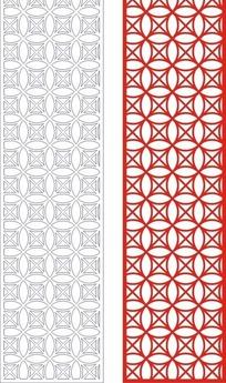 中式红色四方连续图案窗格设计模板