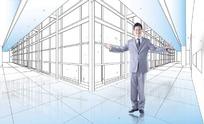办公楼线稿图和职业男士