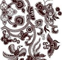 咖啡色花卉和神兽矢量素材