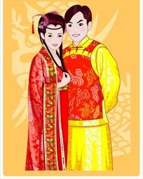 卡通传统夫妻图片