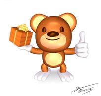 拿着礼物盒的小熊