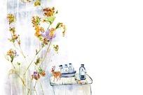 手绘花卉和香草瓶