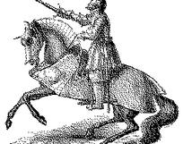 素描磨砂骑马舞剑的骑士EPS