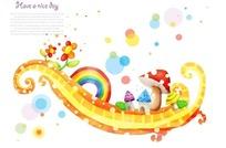 五彩缤纷的儿童插画素材