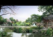 阳光明媚的公园景观效果图