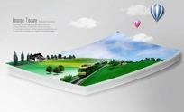 纸上火车和山村风景图