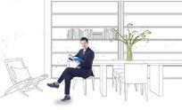 坐在办公室看书的男士