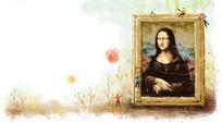 蒙娜丽莎油画框上的小孩卡通PSD素材