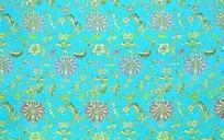蓝底色缠枝莲铜钱寿纹吉祥图案纹样墙纸