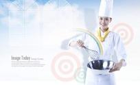 拿打蛋器和盆子的女厨师PSD素材