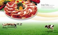 盘子里的牛肉西兰花红椒柠檬PSD素材