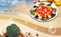 盘子肉蘑菇叶子西兰花大蒜橙子PSD素材