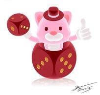 手拿骰子站在骰子里的可爱卡通动物素材