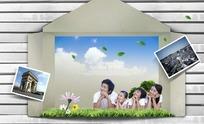 纸盒里的幸福家庭照片