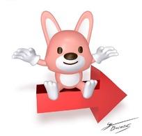 坐在箭头上面的可爱卡通动物兔子素材
