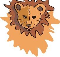 狮子头部正面特写