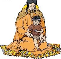 卡通画地毯上的母子